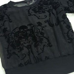 True Religion Velvet Sheer Skeleton Design LS Top